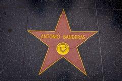 Los Angeles, Kalifornia, usa, CZERWIEC, 15, 2018: Plenerowy widok Antonio Banderas ` gwiazda na Hollywood spacerze sława, wewnątr obrazy royalty free
