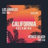 Los Angeles Kalifornien typografi för t-skjorta Gömma i handflatan med havet och träbrädet T-tröjadiagrammet med vändkretsen gömm royaltyfri illustrationer