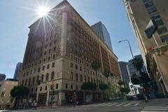 Los Angeles Kalifornien, USA, April 17, 2017: Los Angeles som är i stadens centrum i ljuset av solsken royaltyfri foto