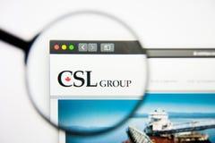 Los Angeles, Kalifornien, USA - 28. Februar 2019: CSL-Websitehomepage CSL-Logo sichtbar auf dem Bildschirm, illustrativ stockfotografie