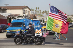 Los Angeles, Kalifornien, USA am 19. Januar 2015 30. jährlicher Martin Luther King Jr Königreich-Tagesparade, Weinlesemotorradpol Stockfotografie