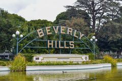 Los Angeles Kalifornien, USA - Januari 5, 2019: Beverly Hills Sign royaltyfria foton