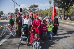 Los Angeles Kalifornien, USA, Januari 19, 2015, 30th årliga Martin Luther King Jr Kungarikedagen ståtar, afrikansk amerikanmuselm Royaltyfri Fotografi