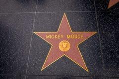 Los Angeles Kalifornien, USA, JUNI, 15, 2018: Stjärnan för Mickey Mouse ` s på Hollywood går av berömmelse i Hollywood, Kaliforni arkivbilder