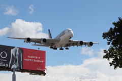 Singapore Airlines flygbuss A-380 Royaltyfria Foton