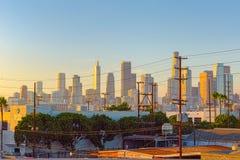 Los Angeles, Kalifornien, USA - 22. September 2018: Ansicht des Stadtzentrums von LA am Abend, Nachtzeit lizenzfreie stockfotos
