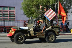 Los Angeles Korea Festival Parade 2015. Jeep flag  Los Angeles Korean Festival Stock Image