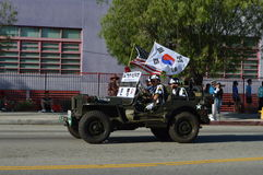 Los Angeles Korea Festival Parade 2015. Jeep Korean flag  Los Angeles Korean Festival Royalty Free Stock Image