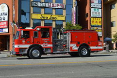 Los Angeles Korea Festival Parade 2015. LAFD truck on display in LA Korean Festival parade Royalty Free Stock Photos