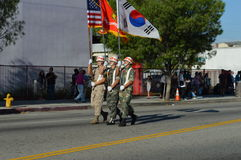 Los Angeles Korea Festival Parade 2015. Three flag bearers  Los Angeles Korean Festival Stock Photo