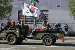 Los Angeles Korea Festival Parade 2015. Three flag bearers  Los Angeles Korean Festival Royalty Free Stock Photography