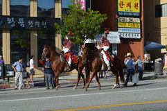 Los Angeles Korea Festival Parade 2015. Traditional Korean Soldiers on Horseback  Los Angeles Korean Festival Stock Image