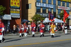 Los Angeles Korea Festival Parade 2015. Traditional Korean Soldiers  Los Angeles Korean Festival Royalty Free Stock Photo