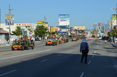 Los Angeles Korea Festival Parade 2015. Truck transport soldiers Los Angeles Korean Festival Royalty Free Stock Image