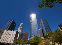 Los Angeles LA downtown at Hill street Royalty Free Stock Photos
