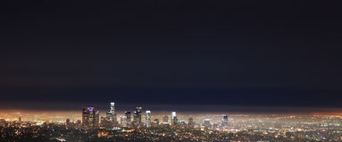 Los Angeles - LA Downtown Night View from Griffith Stock Images