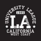 Los Angeles, LA, typographie de la Californie pour le T-shirt Copie originale de vêtements de sport Typographie sportive d'habill illustration libre de droits