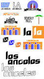 Los Angeles logos and icons Stock Image