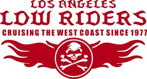 Los angeles low riders. Red on white background color of text and graphics head dry royalty free illustration