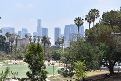 Los Angeles MacArthur Park. View of Los Angeles buildings from MacArthur Park Royalty Free Stock Images