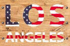Los Angeles malte mit Muster alter Eiche w Flagge Vereinigter Staaten Stockfoto