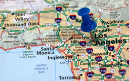 Los angeles. Map with pin point of los angeles in california Stock Photos