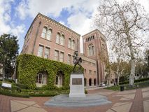 Exterior view of the beautiful Tommy Trojan and Bovard Aministra. Los Angeles, MAR 16: Exterior view of the beautiful Tommy Trojan and Bovard Aministration Royalty Free Stock Photography