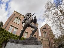 Exterior view of the beautiful Tommy Trojan and Bovard Aministra. Los Angeles, MAR 16: Exterior view of the beautiful Tommy Trojan and Bovard Aministration Stock Photos