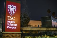 Night view of the USC Health Sciences Campus sign. Los Angeles, MAR 7: Night view of the USC Health Sciences Campus sign on MAR 7, 2018 at Los Angeles Royalty Free Stock Photo