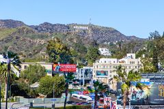 Hollywood Sign Seen From Hollywood Boulevard Stock Image