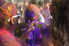 People celebrate Holi Festival Of Colors. LOS ANGELES - MARCH 16 : People celebrate Holi Festival Of Colors on March 16, 2013 in Los Angeles, CA Stock Image