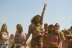 People celebrate Holi Festival Of Colors. LOS ANGELES - MARCH 16 : People celebrate Holi Festival Of Colors on March 16, 2013 in Los Angeles, CA Royalty Free Stock Photography