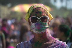 People celebrate Holi Festival Of Colors. LOS ANGELES - MARCH 16 : People celebrate Holi Festival Of Colors on March 16, 2013 in Los Angeles, CA Stock Images