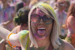 People celebrate Holi Festival Of Colors. LOS ANGELES - MARCH 16 : People celebrate Holi Festival Of Colors on March 16, 2013 in Los Angeles, CA Royalty Free Stock Photo