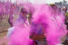 People celebrate Holi Festival Of Colors. LOS ANGELES - MARCH 16 : People celebrate Holi Festival Of Colors on March 16, 2013 in Los Angeles, CA Royalty Free Stock Image