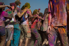 People celebrate Holi Festival Of Colors Stock Photo