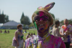 People celebrate Holi Festival Of Colors. LOS ANGELES - MARCH 16 : People celebrate Holi Festival Of Colors on March 16, 2013 in Los Angeles, CA Stock Photo
