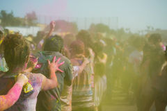 People celebrate Holi Festival Of Colors. LOS ANGELES - MARCH 16 : People celebrate Holi Festival Of Colors on March 16, 2013 in Los Angeles, CA Royalty Free Stock Photos
