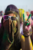 People celebrate Holi Festival Of Colors Stock Image