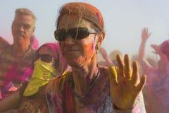 People celebrate Holi Festival Of Colors. LOS ANGELES - MARCH 16 : People celebrate Holi Festival Of Colors on March 16, 2013 in Los Angeles, CA Stock Photos