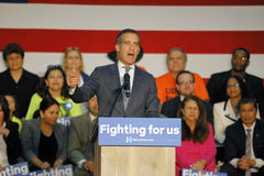 Los Angeles Mayor Eric Garcetti introduces Hillary Clinton at East Los Angeles College Cinco de Mayo, 2016 Royalty Free Stock Photography