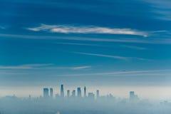Los Angeles misty skyline, California, USA.  stock images
