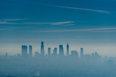 Los Angeles misty skyline, California, USA.  royalty free stock images