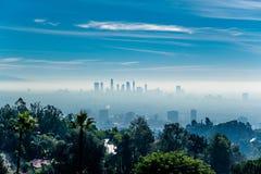 Los Angeles misty skyline, California, USA.  royalty free stock photos