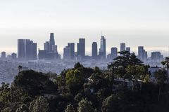 Los Angeles Morning Skyline and Hill View stock photos
