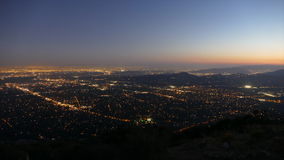 Los Angeles Mountaintop Sunset Time Lapse. Sunset mountaintop time lapse view of Pasadena and Los Angeles in Southern California stock video footage