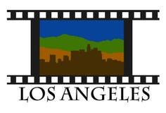 Los Angeles movie. Los Angeles skyline with movie tape Royalty Free Stock Photos