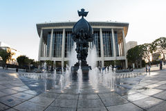 Los Angeles Music Center. Fountain and sculpture Royalty Free Stock Images