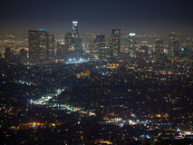 Los Angeles Night. City of the Angeles.  Late night view from the top of Mt. Hollywood Royalty Free Stock Photo
