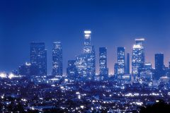 Los Angeles at night. Downtown Los Angeles skyline at night Royalty Free Stock Photography